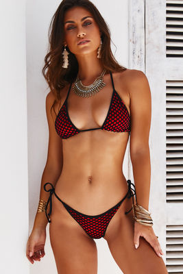 Red & Black Mesh Triangle Top image