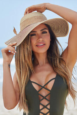Bahía Solano Brown & Tan Wide Brim Floppy Hat with Bow image