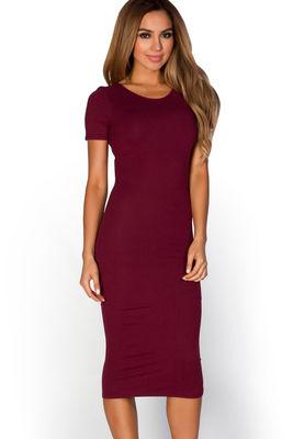 """Elise"" Burgundy Wine Red Short Sleeve Bodycon T Shirt Midi Dress image"