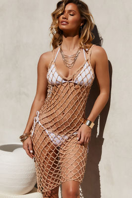 Pearl Jam Mocha Crochet Beaded Dress Cover Up image