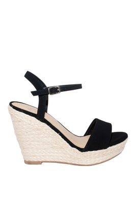 """""""Loyalty"""" Black Open Toe Basket Weave Wedge With Ankle Strap image"""