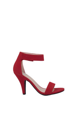"""""""Real Love"""" 4"""" Red Velcro Ankle Strap Womens High Heel Sandal image"""