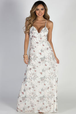 """Great Gatsby"" Ivory Floral Hibiscus Print Maxi Dress image"