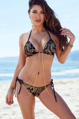 ad1de4c851 Leopard & Black Center Loop Wrap Around Bikini Top - DOLL