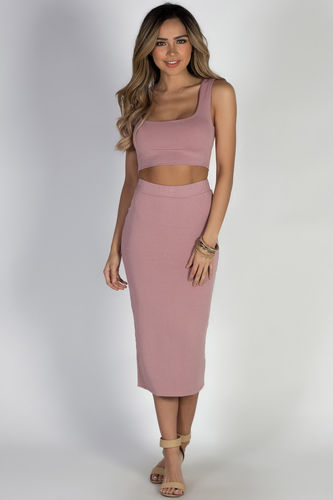 """On the Horizon"" Mauve Two-Piece Bodycon Midi Dress"