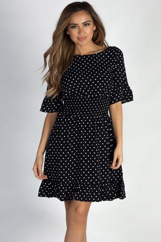 """""""Another Lifetime"""" Black Ruffled Polka Dot Skater Dress"""