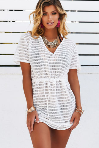 Moet White Striped Mesh Pullover Beach Cover Up