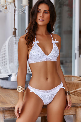 Vienna White & Silver Sequins Lace Band Bridal Bikini Top