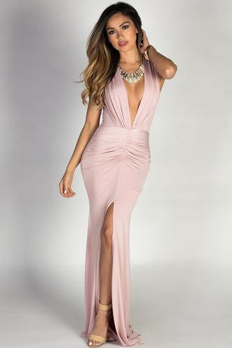 """Jessica"" Blush Sleeveless Plunging Deep V Glam Maxi Dress"