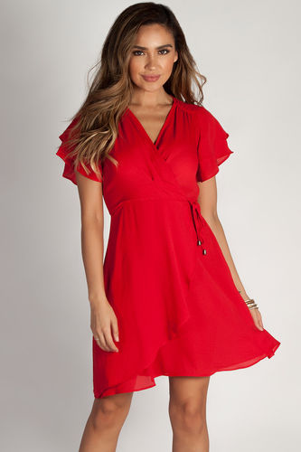 """""""Summer Sippin'"""" Red Ruffled Shoulder Dress"""