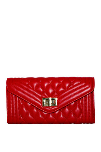 Red Quilted Vegan Leather Bag