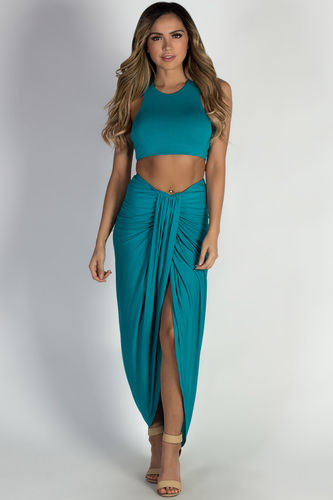 """Prima Donna"" Teal Draped Two-Piece Maxi Dress"