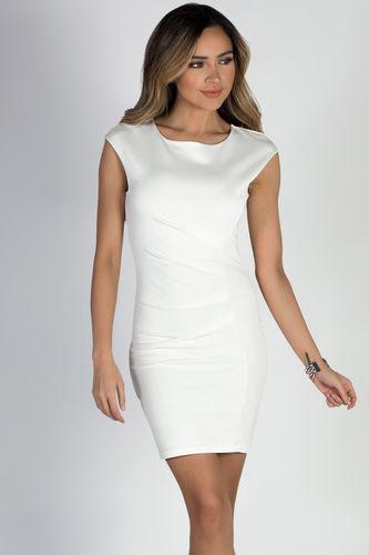 """Heartbeat"" Ivory Cap Sleeve Pleated Short Bodycon Cocktail Dress"