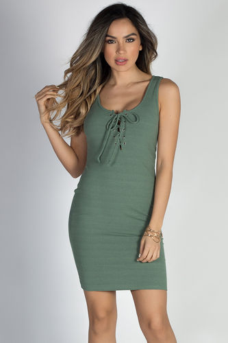 """""""Crazy in Love"""" Sage Green Sexy Bodycon Lace Up Tank Dress"""