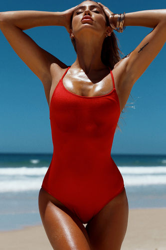 Marilyn Red Back Lace Up One Piece Swimsuit