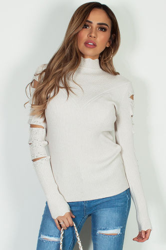 """""""Can't Hold Us Down"""" Beige Long Sleeve Pearls And Rhinestones Top"""