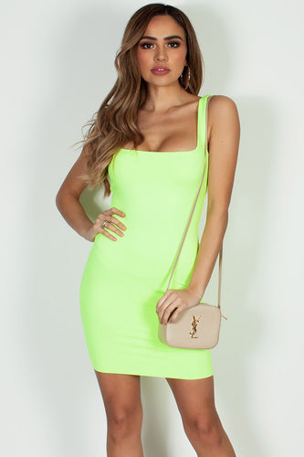 """Always On Time"" Neon Yellow Layered Square Neck Mini Dress"
