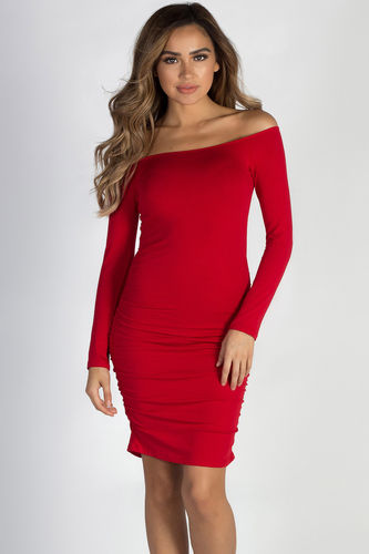 """Dilemma"" Red Off Shoulder Long Sleeve Shirred Dress"