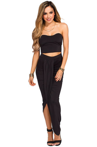 """""""Isana"""" Black Strapless Cut Out Draped Maxi Gown"""