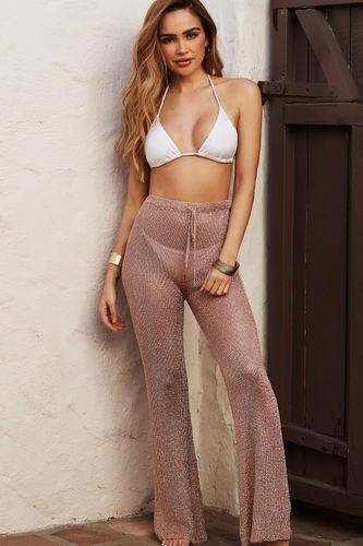 Metropolis Rose Gold Metallic Knit Beach Pants Cover Up