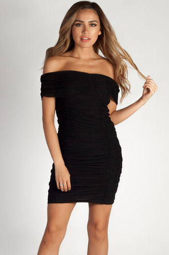 """One Call Away"" Black Ruched Off Shoulder Mesh Dress"