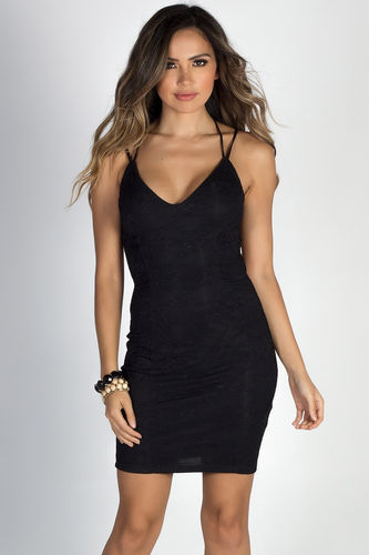 """Sealed with a Kiss"" Black Lace Strappy Backless Mini Dress"