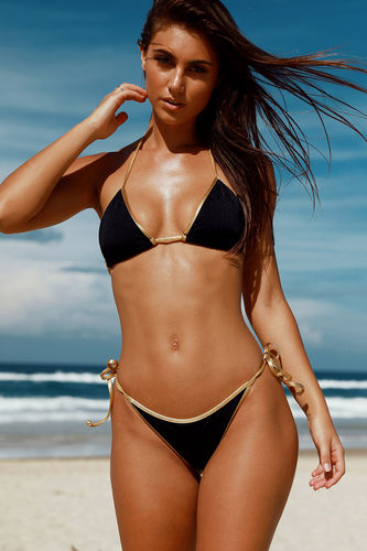 Black & Gold Triangle Bikini Top