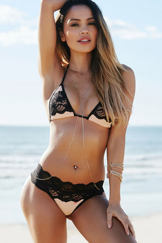 Maui Blush & Black Lace Triangle Top