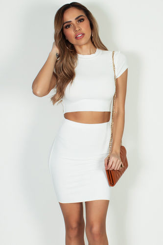 """Saucy"" Off White Short Sleeve Crop Top W/Skirt"