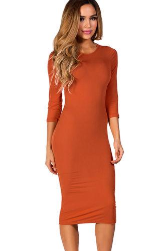 """Margo"" Orange Spice 3/4 Sleeve Jersey Bodycon Midi Dress"