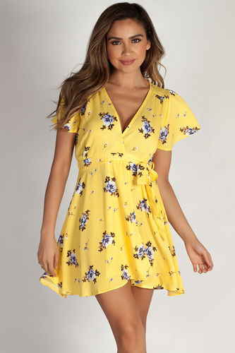 """Hillside"" Yellow Floral Crepe Wrap Dress"