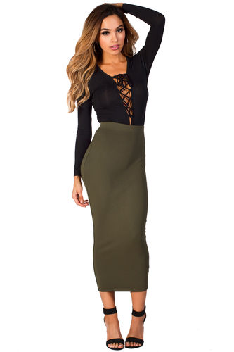 """""""Holly"""" Olive Green Cozy Knit High Waisted Midi Pencil Skirt"""
