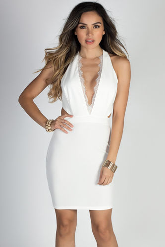"""Above & Beyond"" Ivory White Eyelash Lace Cut Out Cocktail Dress"