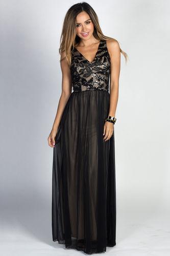 """Linnea"" Black Sleeveless Lace & Sequin Bodice Mesh Chiffon Goddess Gown"