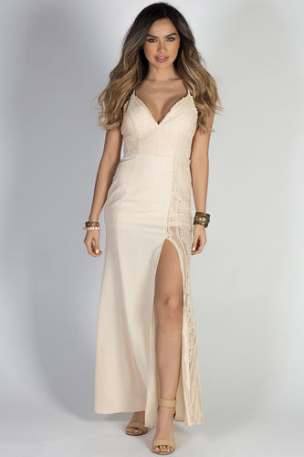 """This is Heaven"" Nude Spaghetti Strap Sexy Long Lace Dress"