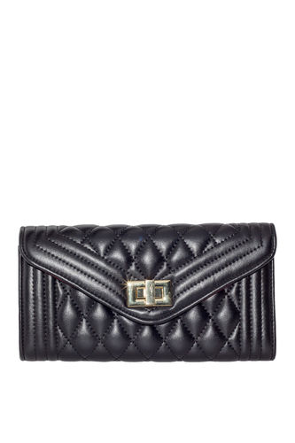 Black Quilted Vegan Leather Bag