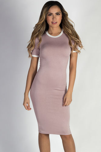"""Elodie"" Mauve Bodycon Ringer Midi Dress with Sleeves"
