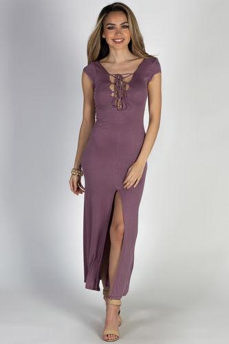 """Wait For It"" Dusty Plum Short Sleeve Lace Up V Neck Maxi Dress"