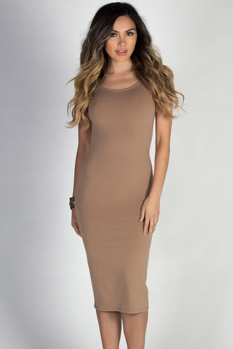"""""""One & Only"""" Taupe Scoop Back Short Sleeve Midi Dress"""