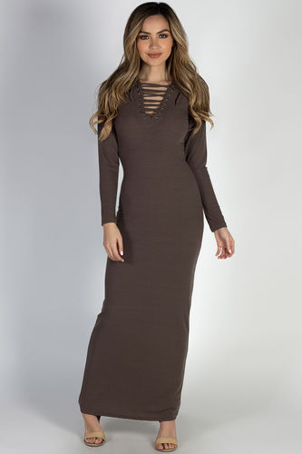 """I Got You"" Cocoa Long Sleeve Lace Up Bodycon Maxi Dress"