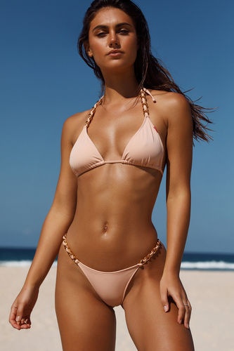 Blush Triangle Bikini On a Chain Top