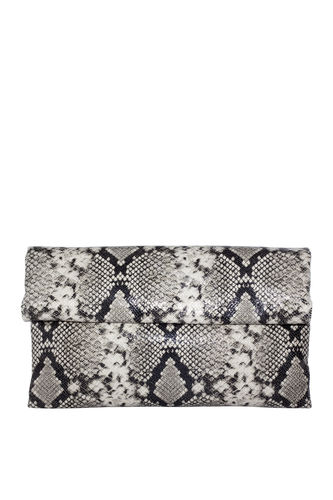 Grey Python Clutch W/ Detachable Strap