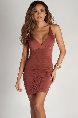 """Run It Up"" Copper Strappy Ruched Mini Dress"
