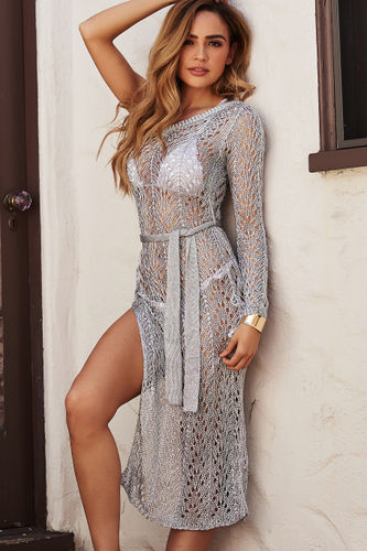 Silver Sheer Metallic Crochet One Shoulder Cover Up