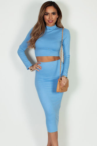 """""""No Days Off"""" Light Blue Long Sleeve Crop Top And Midi Skirt"""