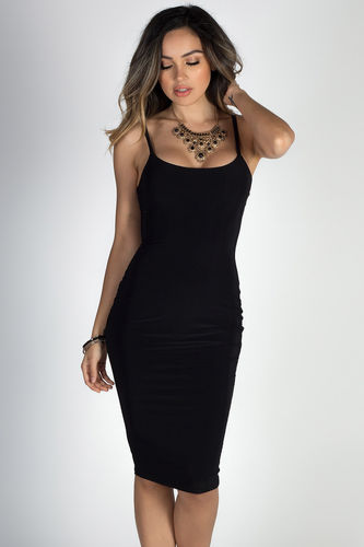 """Anna Marie"" Black Simple Bodycon Midi Slip Dress"