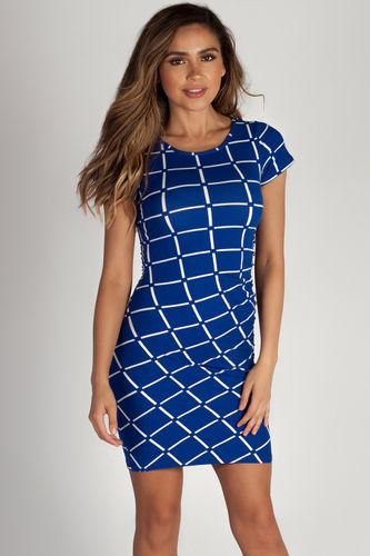 """Social Club"" Royal Grid Short Sleeve Bodycon Dress"