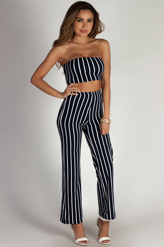 """""""Free At Last"""" Navy Striped Cropped Tube Top & Pants Set"""