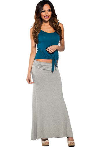 """Amy"" Gray Casual Jersey Long Maxi Skirt"