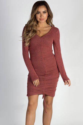 """Tokyo Love"" Burgundy Ruched Brushed Hacci Dress"